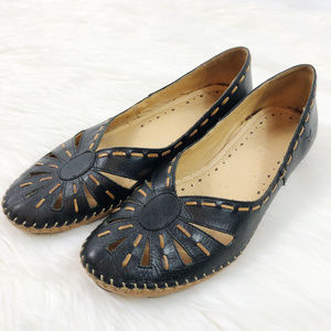 [PIKOLINOS] Leather Perforated Heeled Sandals
